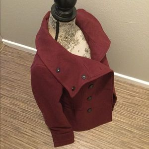 H&M Double Breasted Burgundy Pea Coat